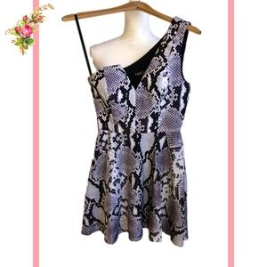 🖤NBD X The Naven One Shoulder Snake Mini Dress XS